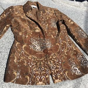 Vintage Spiegel Tapestry Blazer Jacket Gold Silver